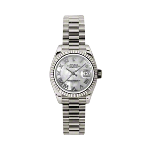 Rolex Ladies White Gold Datejust - President Mother of Pearl Roman Dial - 18K Fluted Bezel - Presidential Bracelet 26 MM 179179