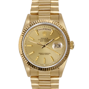 Rolex Mens Yellow Gold Day Date President - Champagne Stick Tapestry Dial & Fluted Bezel Single Quickset 18038 Model