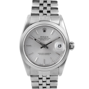 Rolex Datejust - Stainless Steel Silver Stick Dial & Smooth Bezel On An Jubilee Band Quickset 68240 Model