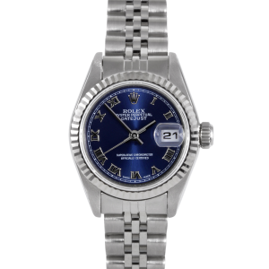 Rolex Ladies Quickset Datejust - Stainless Steel Blue Roman Dial & Fluted Bezel On A Jubilee Band 69174 Model